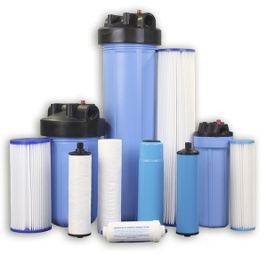 Assortment of blue whole house filter sizes and cartridges